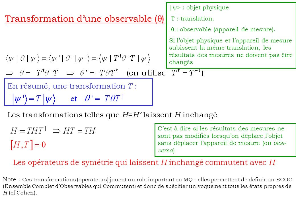 Transformation d'une observable (q)