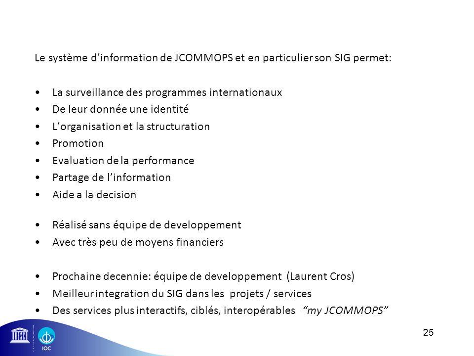 Le système d'information de JCOMMOPS et en particulier son SIG permet: