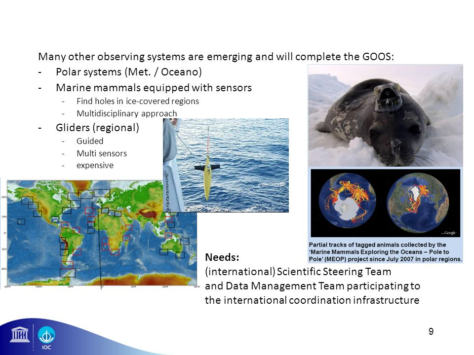 Many other observing systems are emerging and will complete the GOOS: