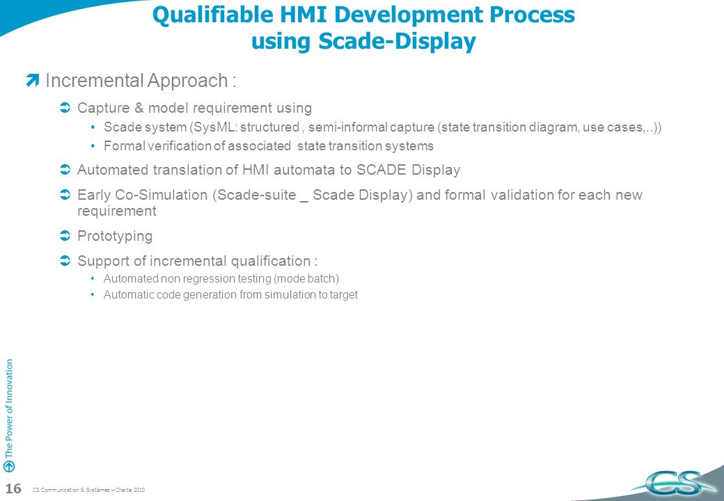 Qualifiable HMI Development Process using Scade-Display