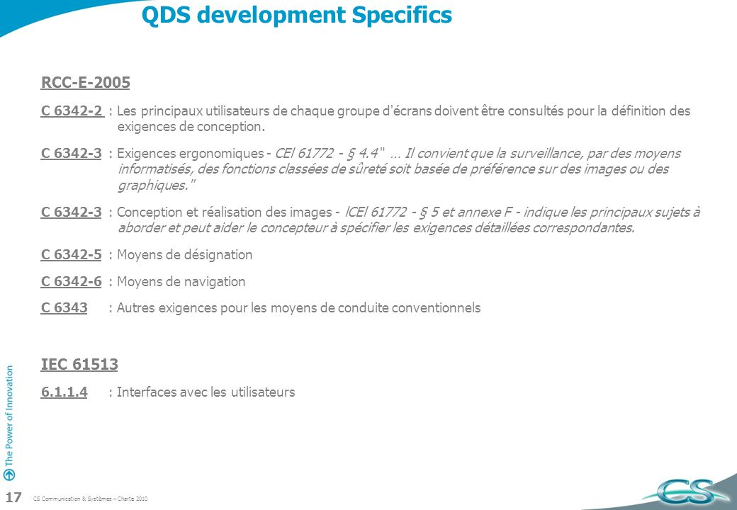 QDS development Specifics