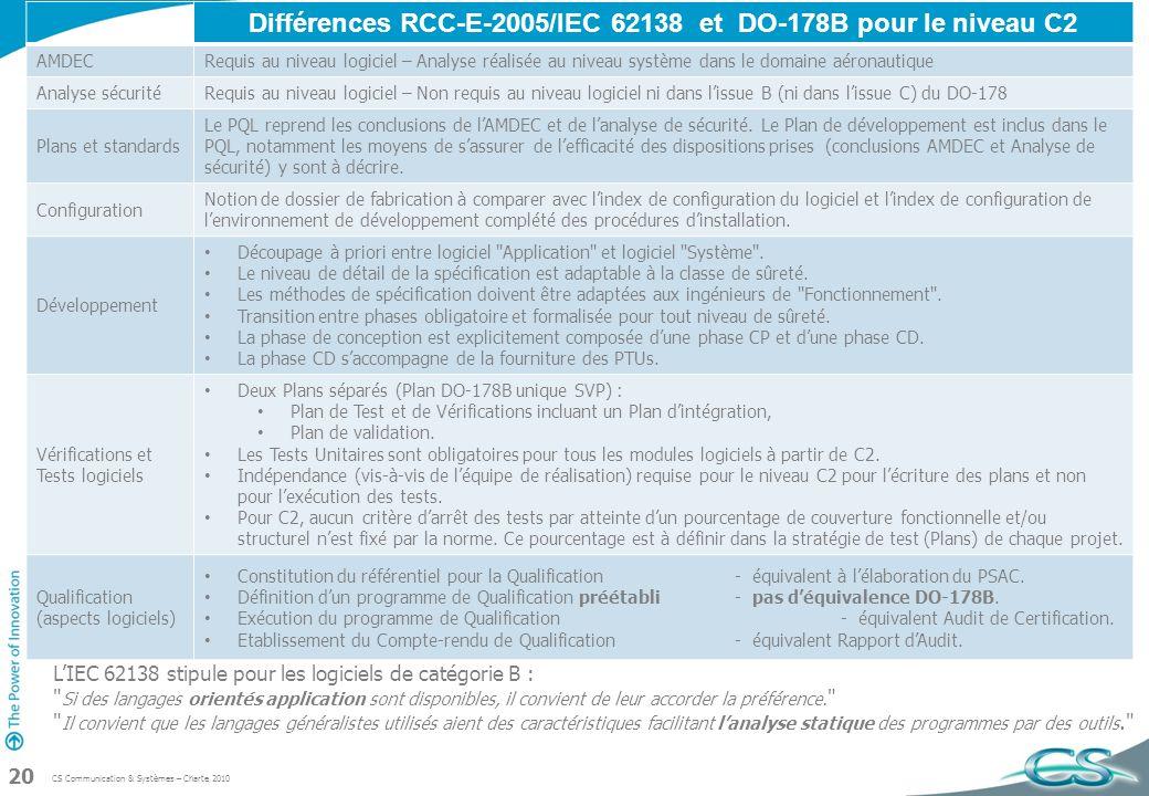 Différences RCC-E-2005/IEC 62138 et DO-178B pour le niveau C2