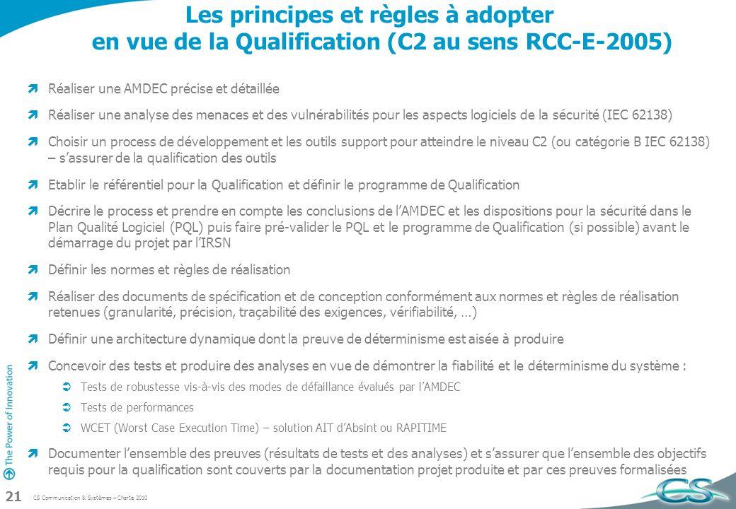 Les principes et règles à adopter en vue de la Qualification (C2 au sens RCC-E-2005)