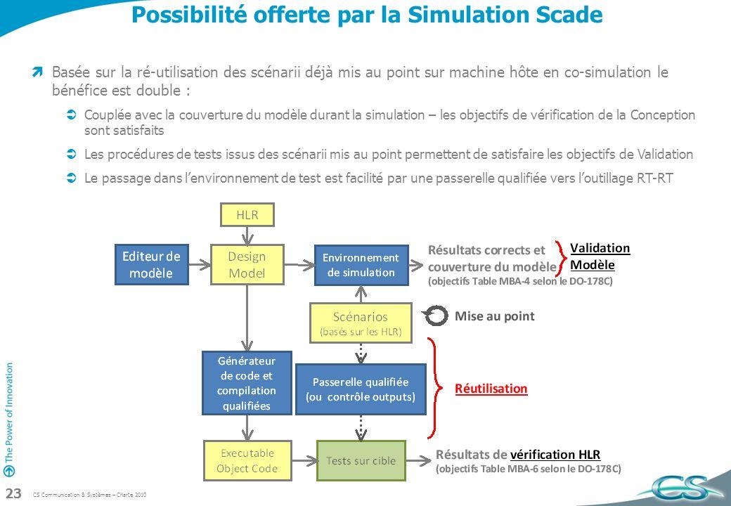 Possibilité offerte par la Simulation Scade