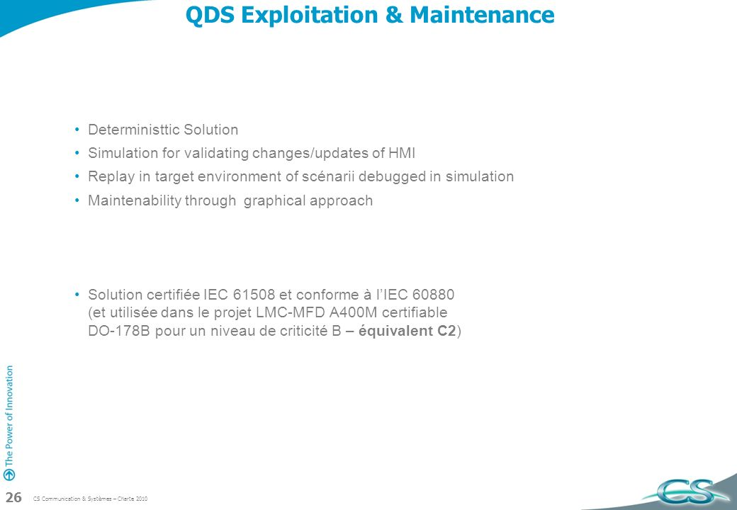 QDS Exploitation & Maintenance