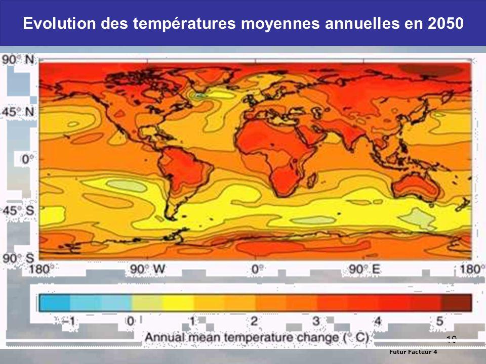 Evolution des températures moyennes annuelles en 2050