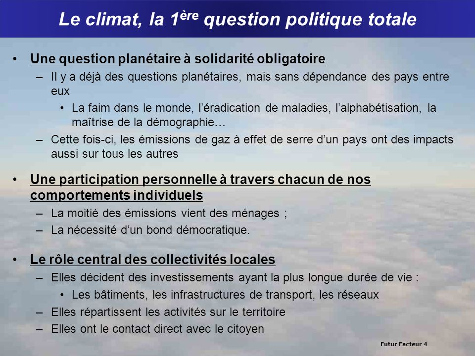 Le climat, la 1ère question politique totale