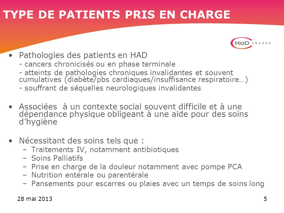 TYPE DE PATIENTS PRIS EN CHARGE