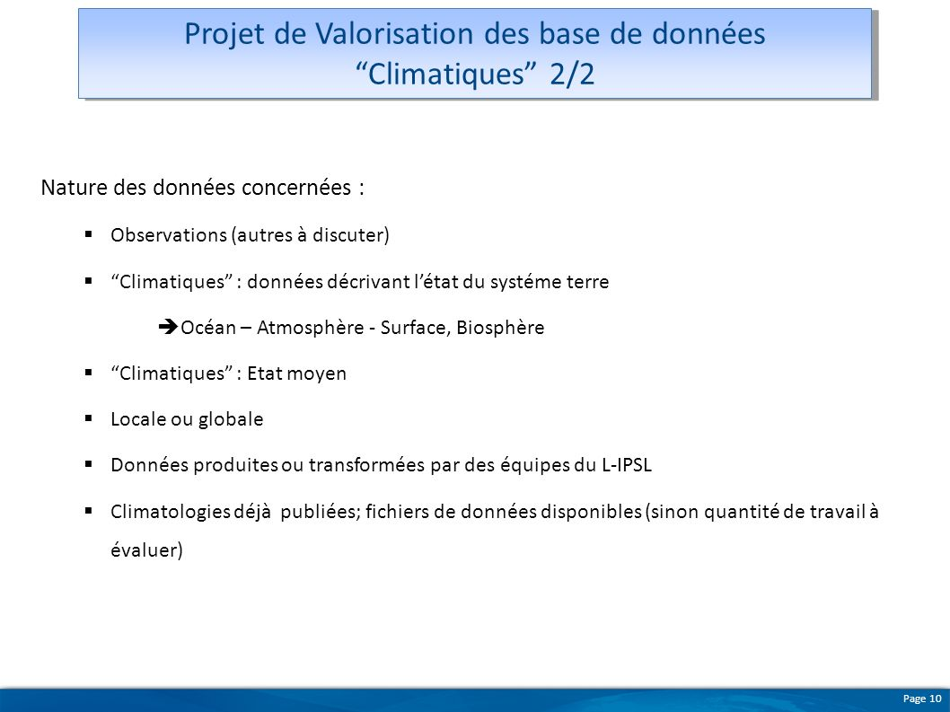 Projet de Valorisation des base de données Climatiques 2/2
