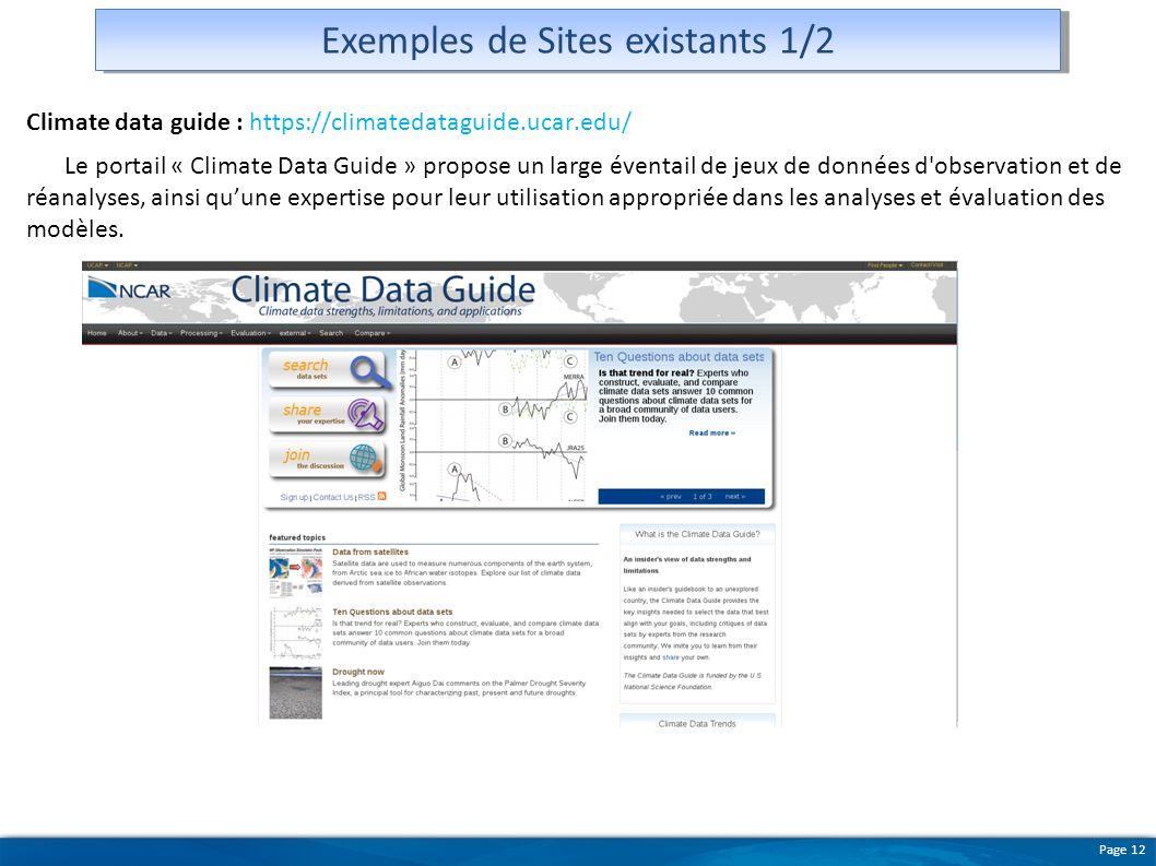 Exemples de Sites existants 1/2