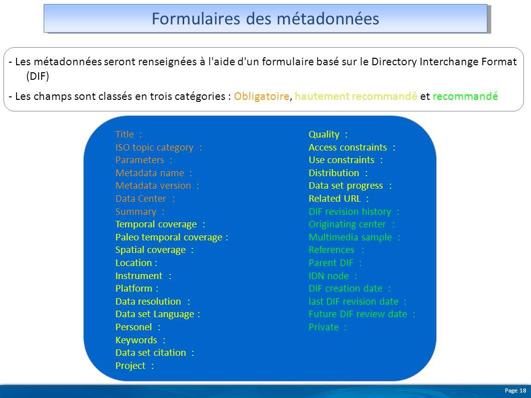 Formulaires des métadonnées