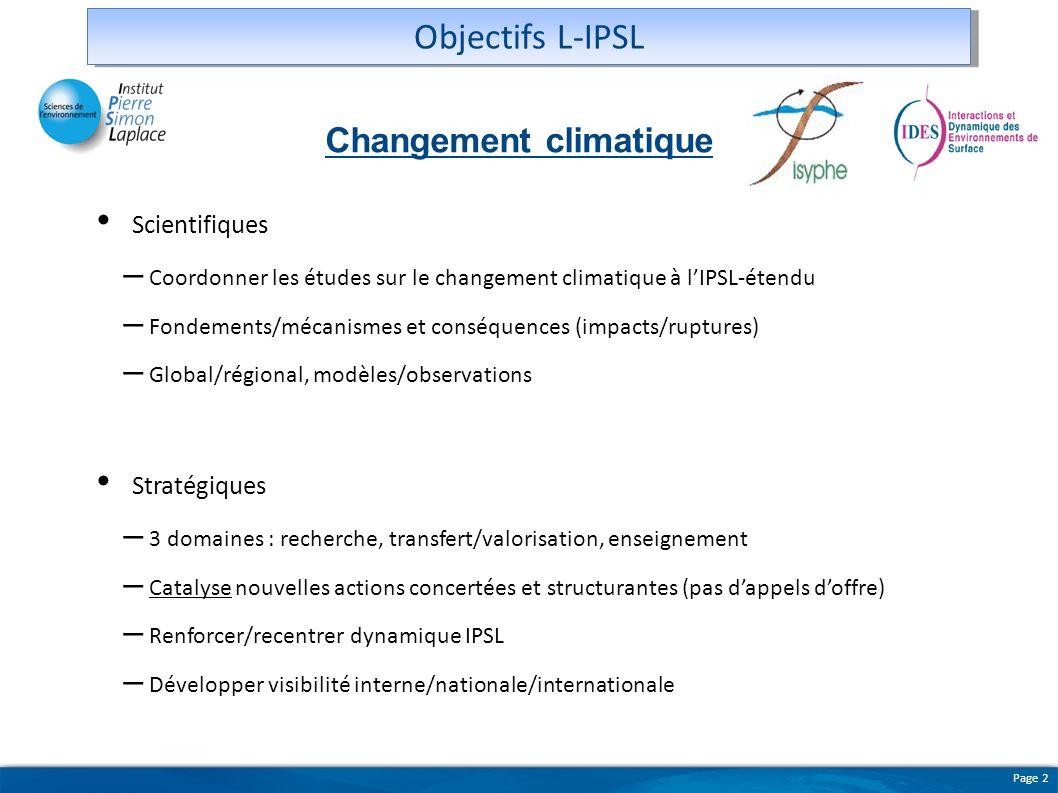 Objectifs L-IPSL Changement climatique Scientifiques Stratégiques