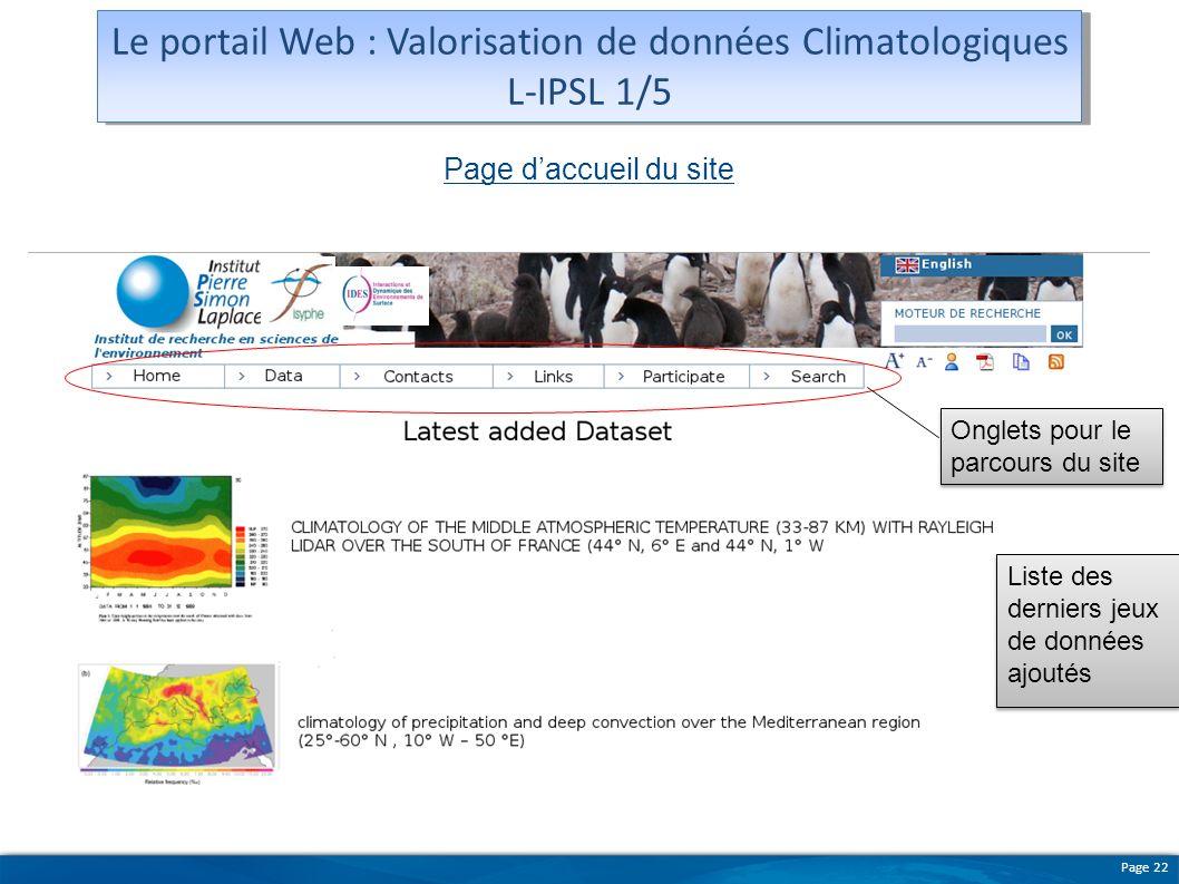 Le portail Web : Valorisation de données Climatologiques L-IPSL 1/5