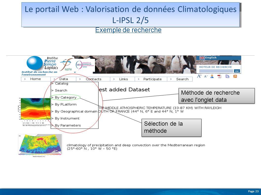 Le portail Web : Valorisation de données Climatologiques L-IPSL 2/5