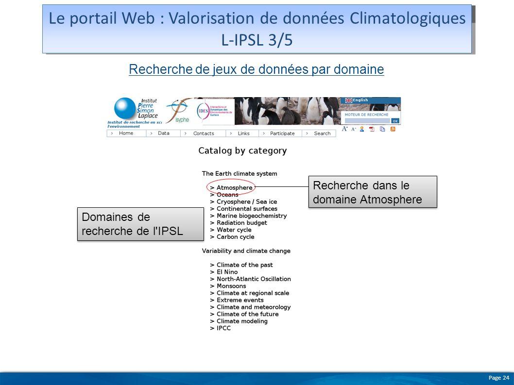 Le portail Web : Valorisation de données Climatologiques L-IPSL 3/5
