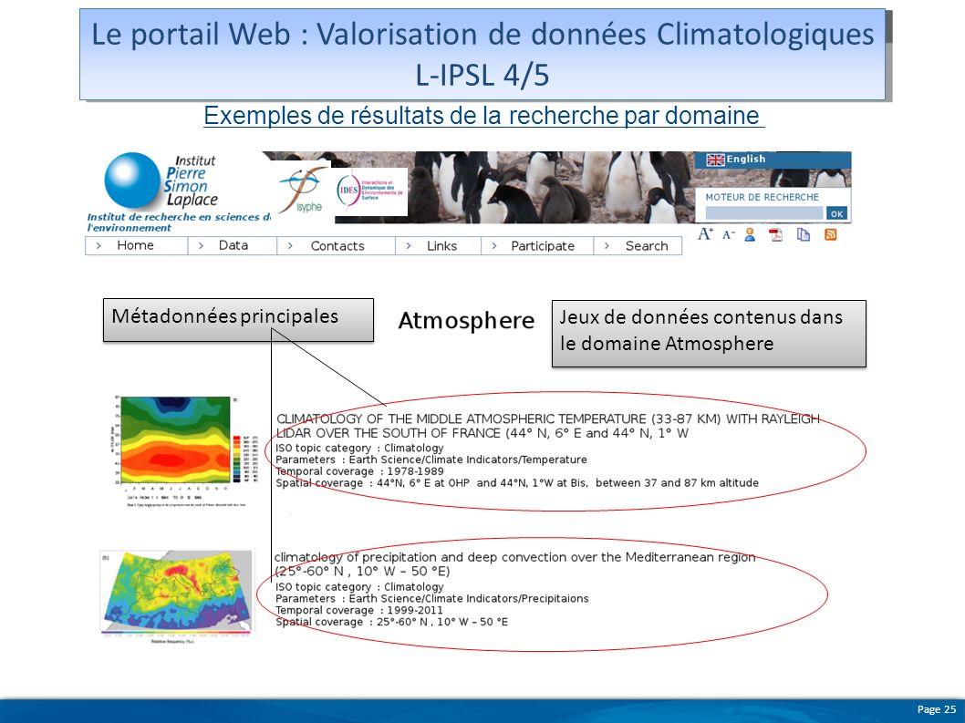 Le portail Web : Valorisation de données Climatologiques L-IPSL 4/5