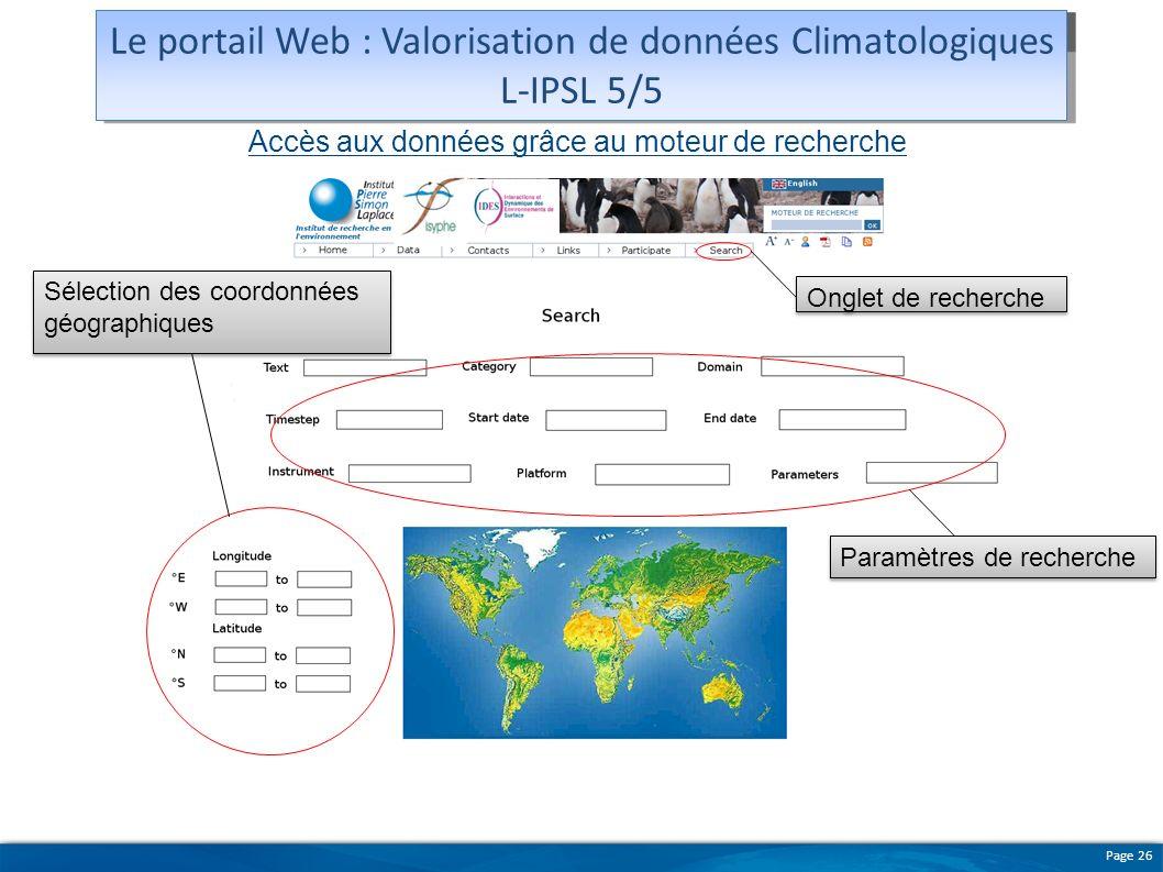 Le portail Web : Valorisation de données Climatologiques L-IPSL 5/5
