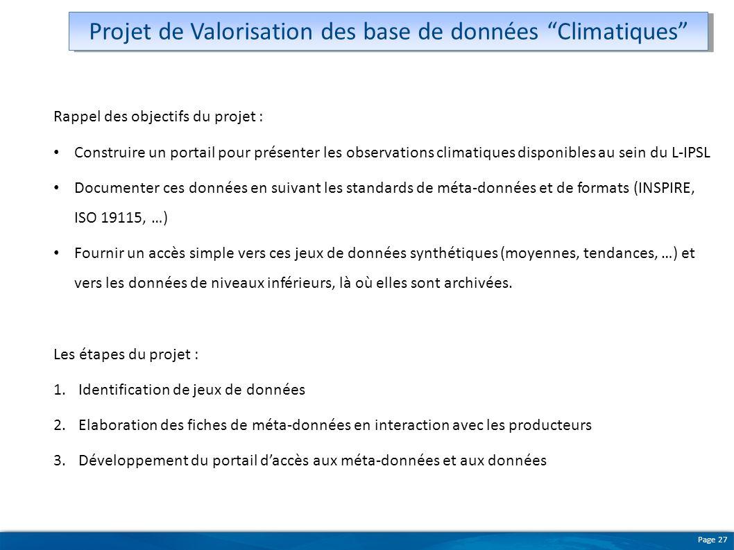 Projet de Valorisation des base de données Climatiques