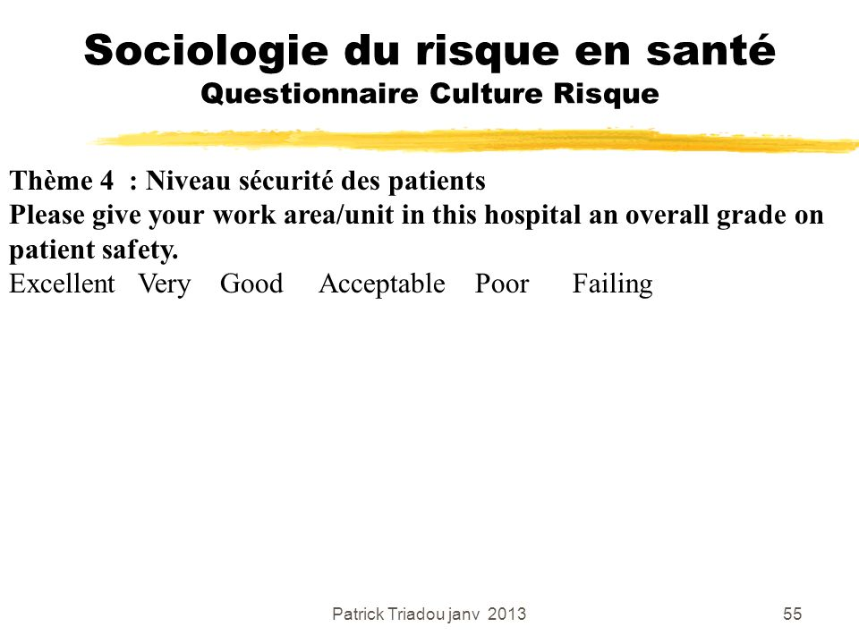 Sociologie du risque en santé Questionnaire Culture Risque