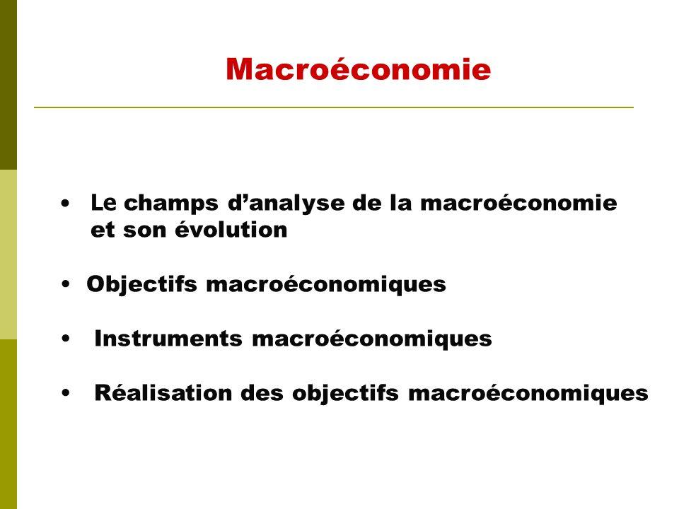 Macroéconomie Le champs d'analyse de la macroéconomie et son évolution