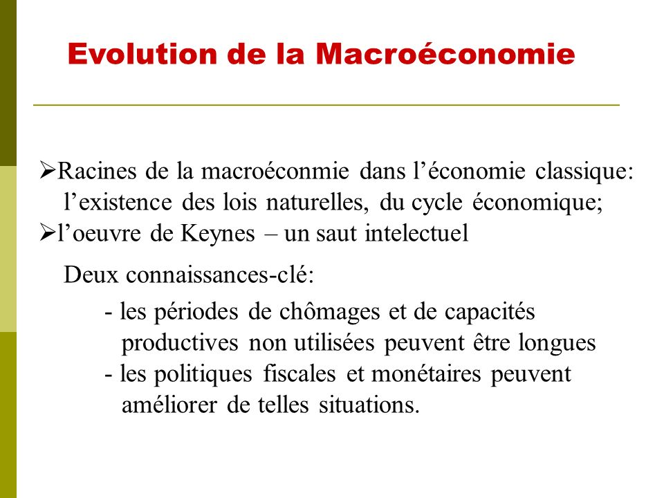 Evolution de la Macroéconomie