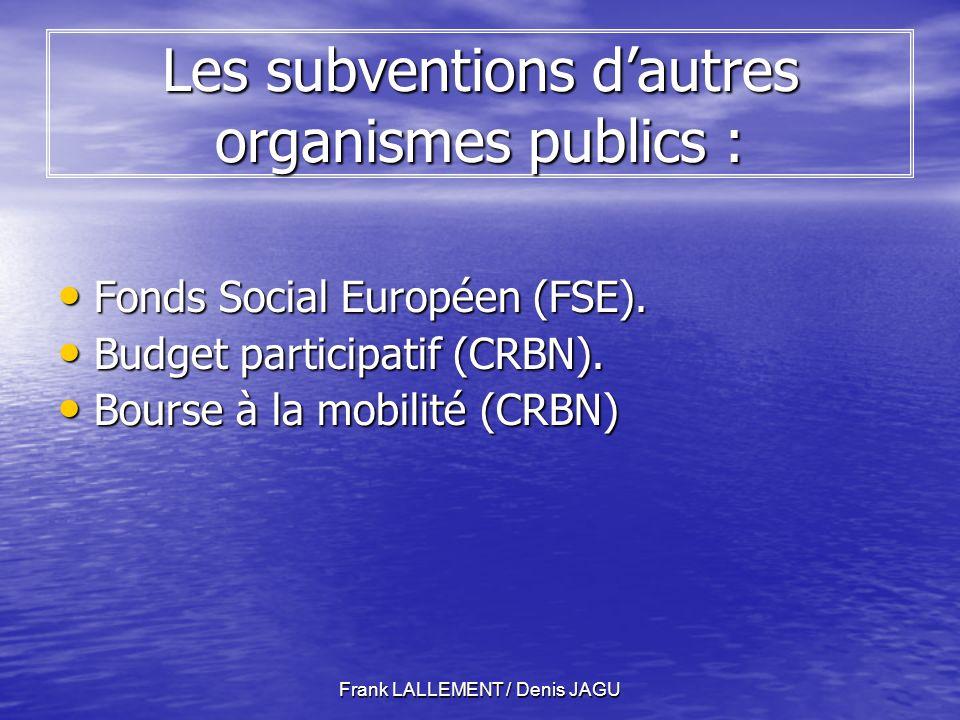 Les subventions d'autres organismes publics :