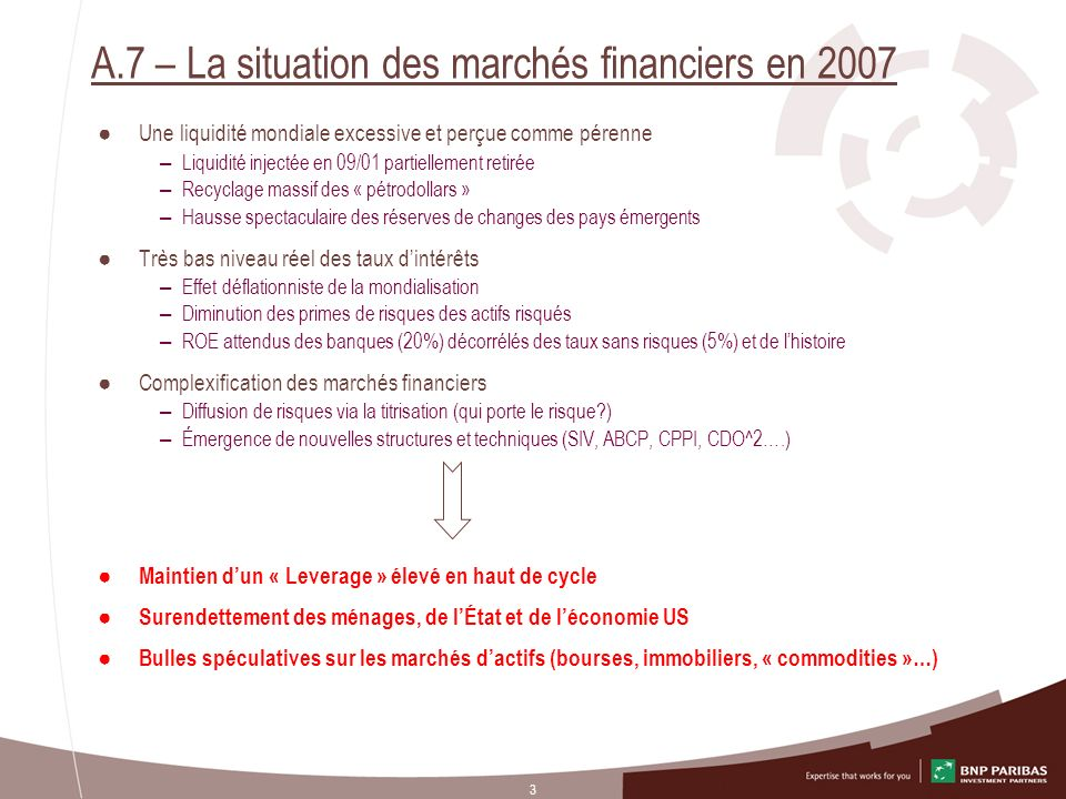 A.7 – La situation des marchés financiers en 2007