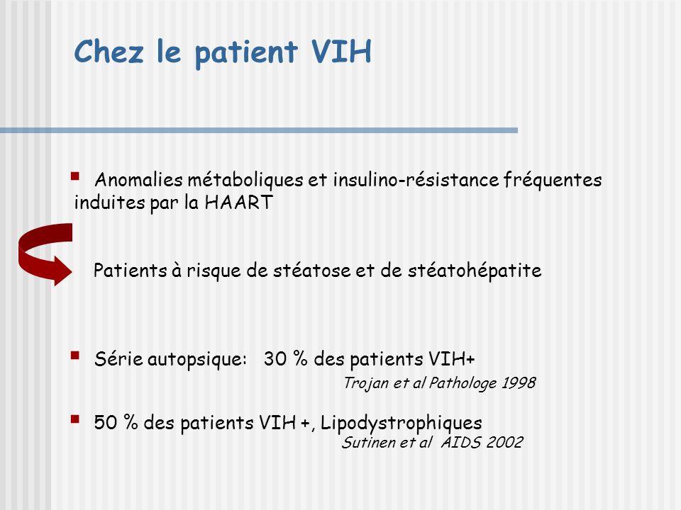 Chez le patient VIH Anomalies métaboliques et insulino-résistance fréquentes. induites par la HAART.