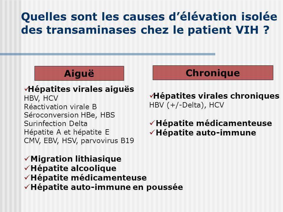 Quelles sont les causes d'élévation isolée des transaminases chez le patient VIH