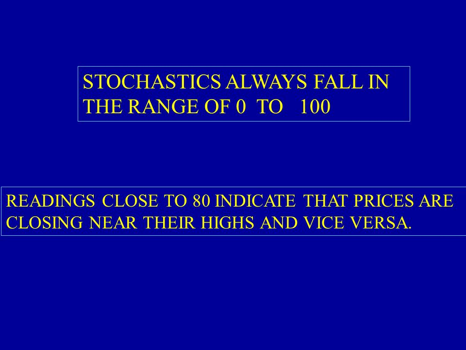 STOCHASTICS ALWAYS FALL IN THE RANGE OF 0 TO 100