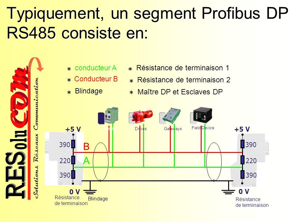 Typiquement, un segment Profibus DP RS485 consiste en: