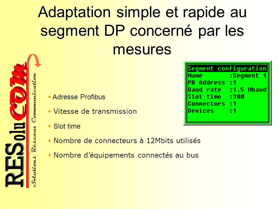 Adaptation simple et rapide au segment DP concerné par les mesures