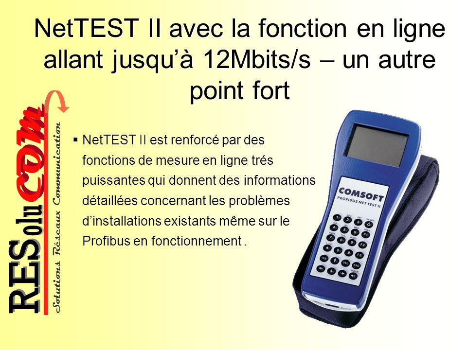 NetTEST II avec la fonction en ligne allant jusqu'à 12Mbits/s – un autre point fort