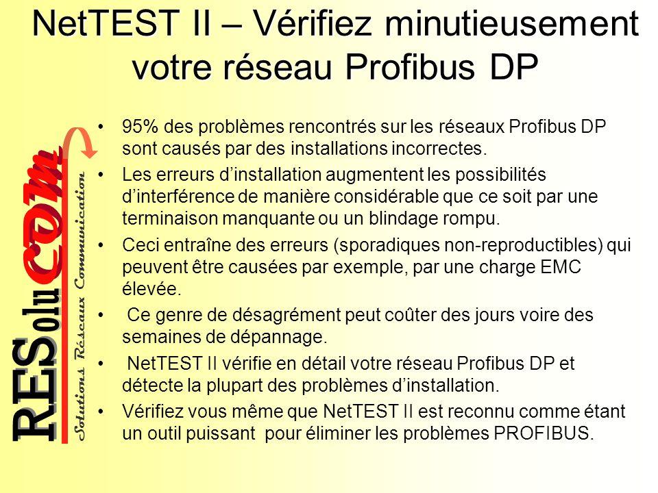 NetTEST II – Vérifiez minutieusement votre réseau Profibus DP