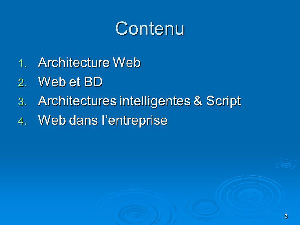 Contenu Architecture Web Web et BD