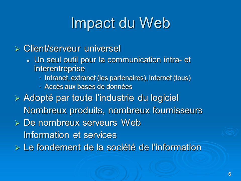 Impact du Web Client/serveur universel