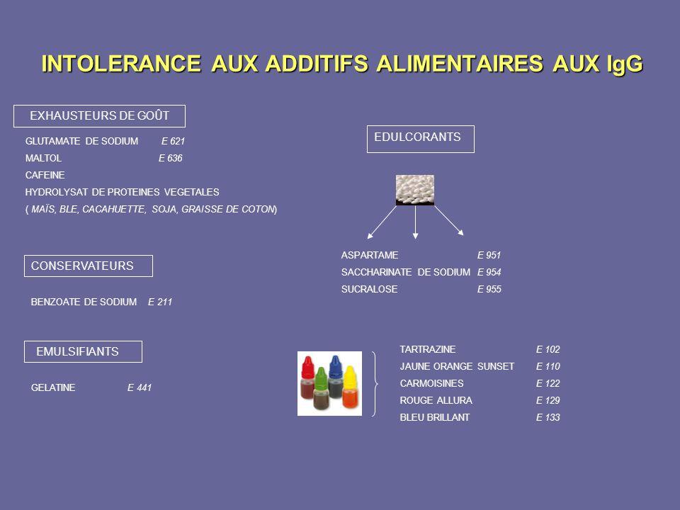 INTOLERANCE AUX ADDITIFS ALIMENTAIRES AUX IgG