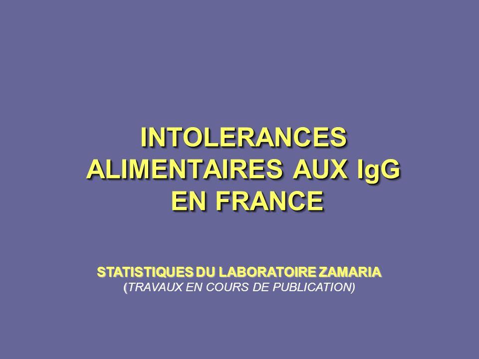 INTOLERANCES ALIMENTAIRES AUX IgG EN FRANCE
