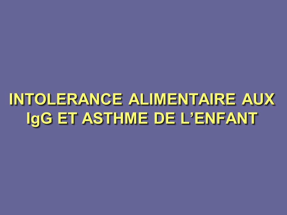 INTOLERANCE ALIMENTAIRE AUX IgG ET ASTHME DE L'ENFANT