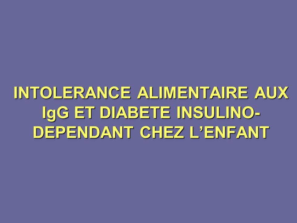 INTOLERANCE ALIMENTAIRE AUX IgG ET DIABETE INSULINO-DEPENDANT CHEZ L'ENFANT