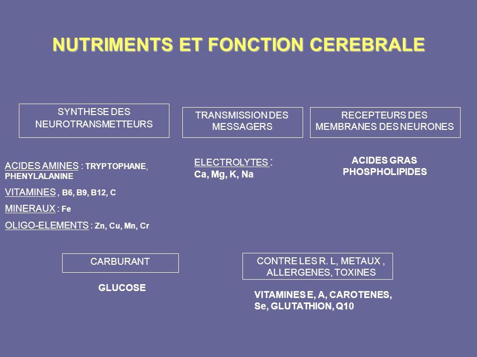 NUTRIMENTS ET FONCTION CEREBRALE