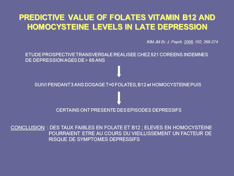 PREDICTIVE VALUE OF FOLATES VITAMIN B12 AND HOMOCYSTEINE LEVELS IN LATE DEPRESSION