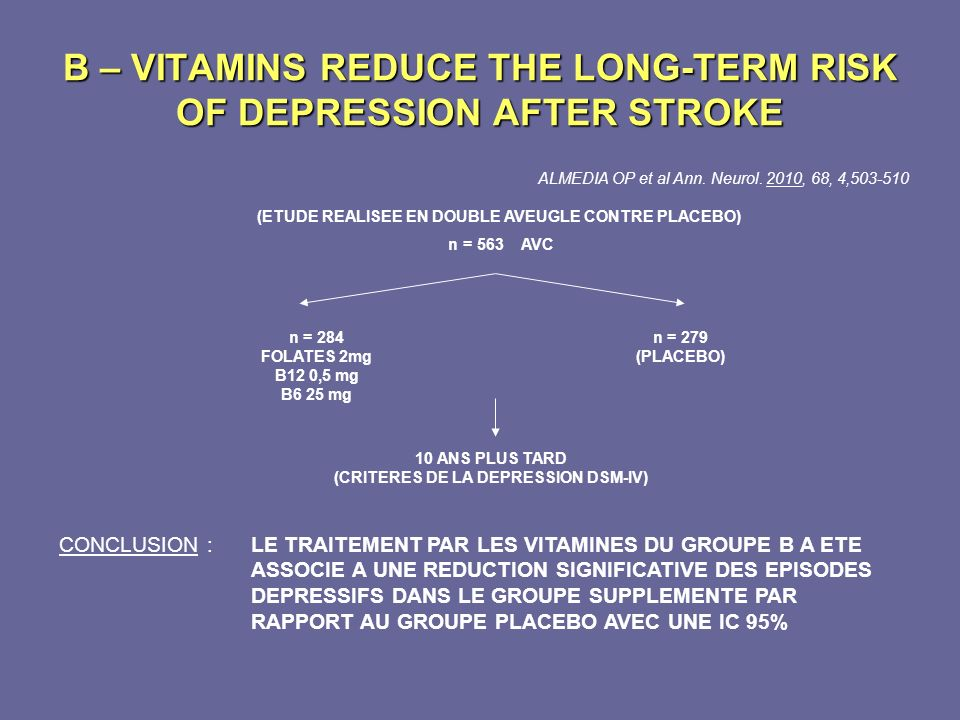 B – VITAMINS REDUCE THE LONG-TERM RISK OF DEPRESSION AFTER STROKE