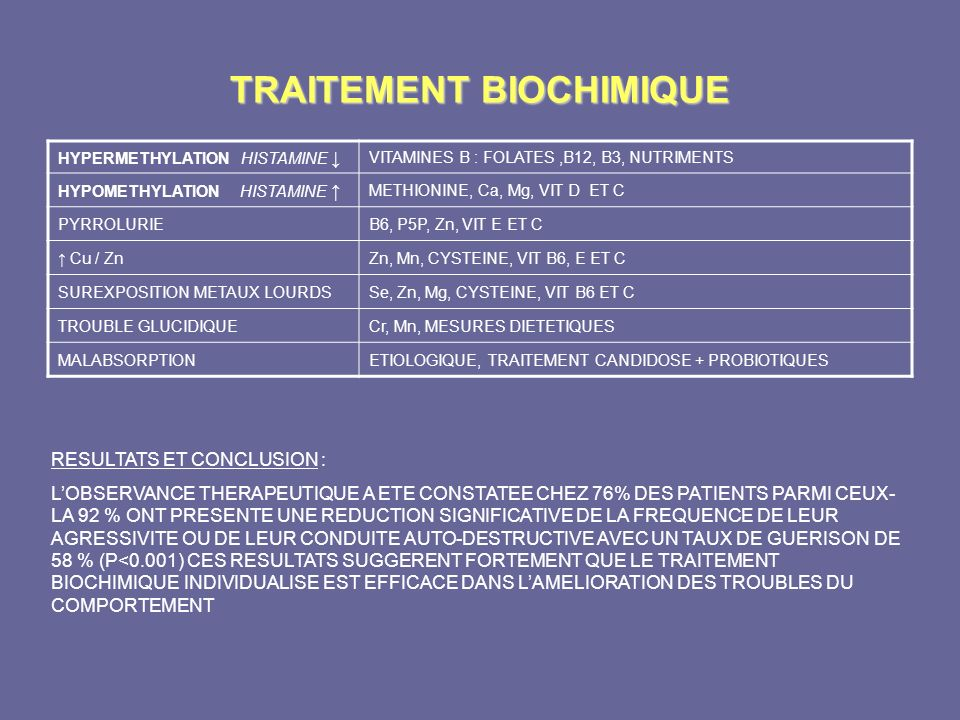 TRAITEMENT BIOCHIMIQUE