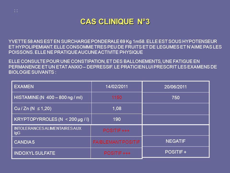 CAS CLINIQUE N°3 : :