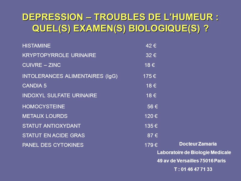 DEPRESSION – TROUBLES DE L'HUMEUR : QUEL(S) EXAMEN(S) BIOLOGIQUE(S)