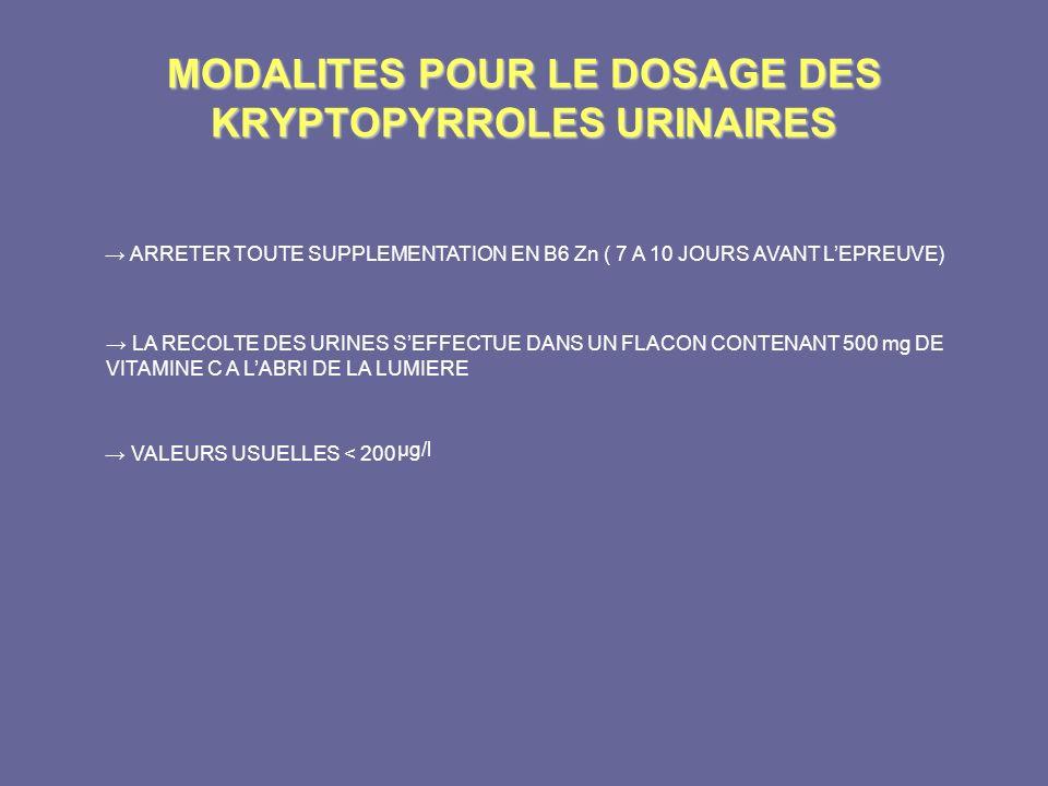 MODALITES POUR LE DOSAGE DES KRYPTOPYRROLES URINAIRES