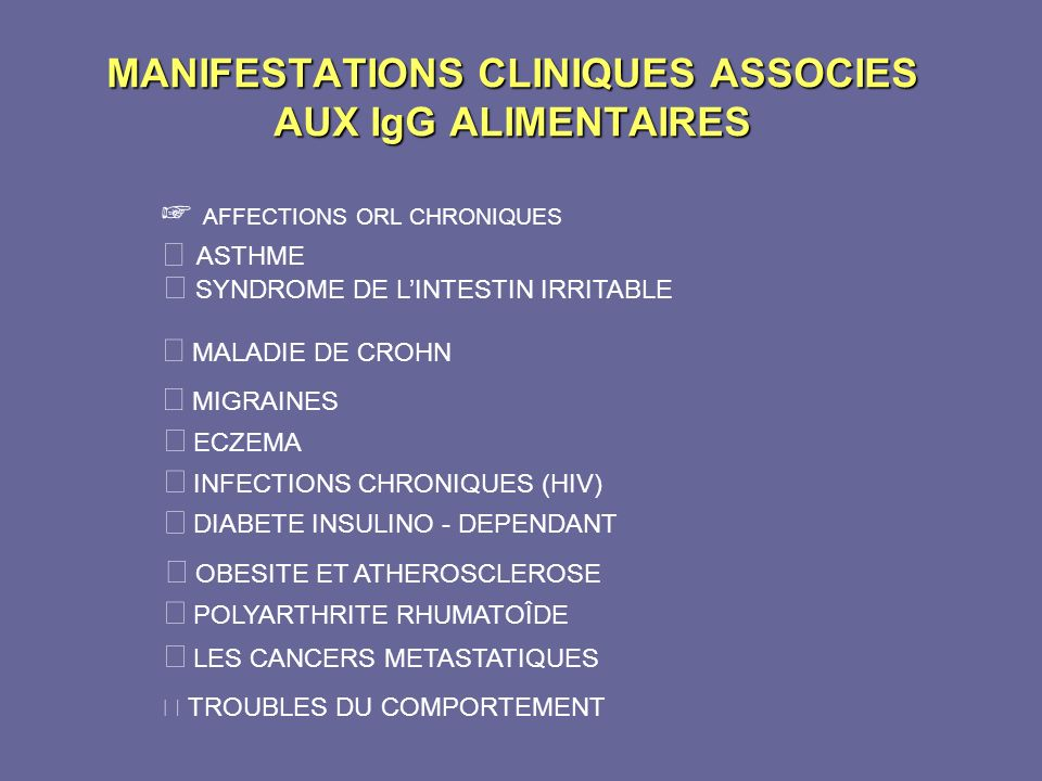 MANIFESTATIONS CLINIQUES ASSOCIES AUX IgG ALIMENTAIRES