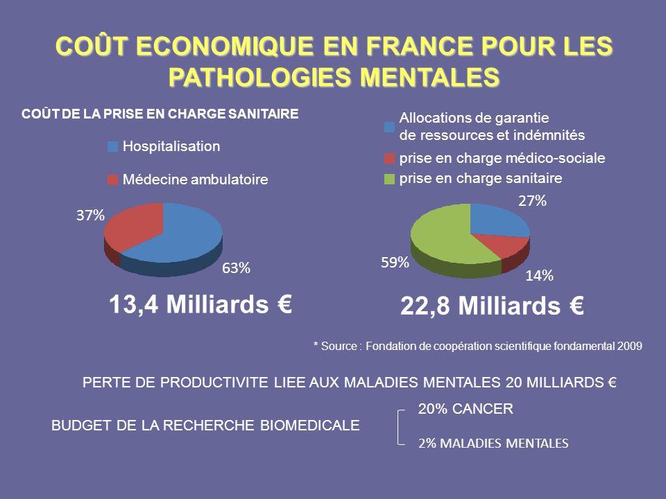 COÛT ECONOMIQUE EN FRANCE POUR LES PATHOLOGIES MENTALES