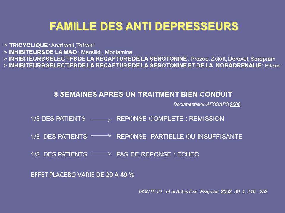 FAMILLE DES ANTI DEPRESSEURS